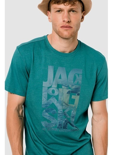 Jack Wolfskin Atlantic Ocean Erkek Outdoor Tişört Emerald Green Renkli